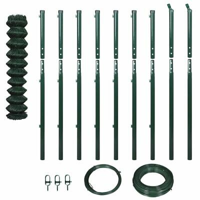 vidaXL Garden Patio Chain-Link Fence Set Mesh Screen with Posts 1.97x15 m Green