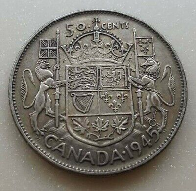 1945 Canada Silver 50 Cents George VI Fifty Cent Half Dollar Coin