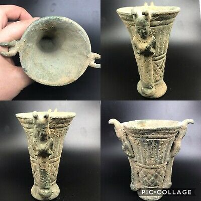 wonderful near eastern ancient bronze excellent cup with two statue on side