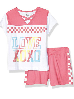 XOXO Girls' Big Active Top and Short Set, Pink White, 7/8