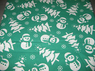 Little Glittery Snowmen on Blue; Christmas Fabric Traditions Cotton Per ½ Yard