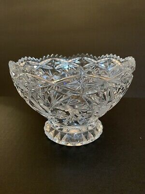 Exquisite Vintage Cut Glass Nut/Candy Bowl w Sawtooth Edge~ American Brilliant