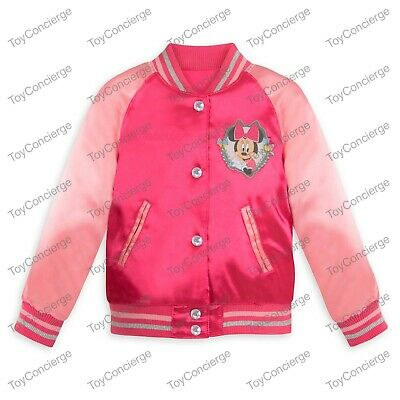 DISNEY Store VARSITY JACKET for Girls 2018 MINNIE Mouse PINK Choose Size NWT
