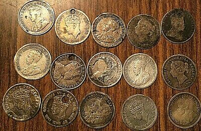 Lot Of 15 Canada And Newfoundland Silver 5 Cents Lot Of 15 Coins