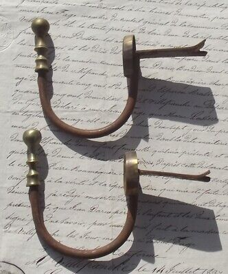 Pair of Antique French Empire Brass Hooks Curtain pole holders tieback pegs