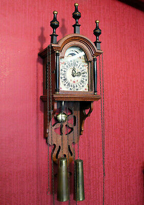 Old Wall Clock vintage Dutch Saarlander Clock * With Moonphase *