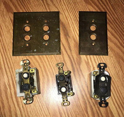 Lot Vintage Brass Push Buttons An Light Switch Covers