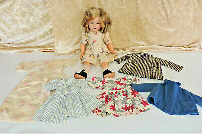"Ideal 18"" Shirley Temple Composition Doll, Orig Mohair Wig, & Handmade Clothes"