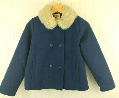OshKosh Bgosh Girls 14 Pea Coat Navy Blue Faux Fur Collar Warm Classic Dressy