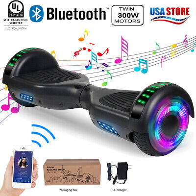 "6.5"" Bluetooth Hoverboard LED Self-Balancing Skateboard UL2272 White Without Bag"