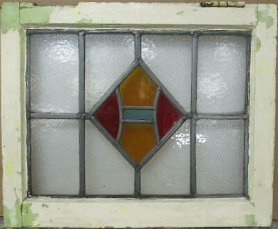 """OLD ENGLISH LEADED STAINED GLASS WINDOW Gorgeous Geometric Design 20"""" x 16.5"""""""
