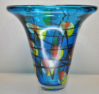 Beautiful Large Studio Glass Art Blue Funnel Vase With Hand Colored Accents