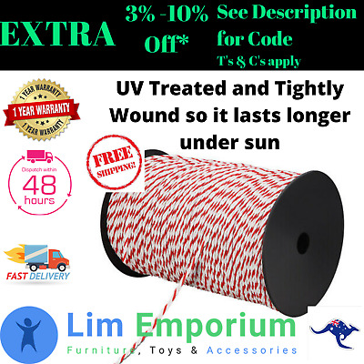Electric Fence Rope 500m 4mm Stainless Steel Polywire Poly Tape Farming Fencing