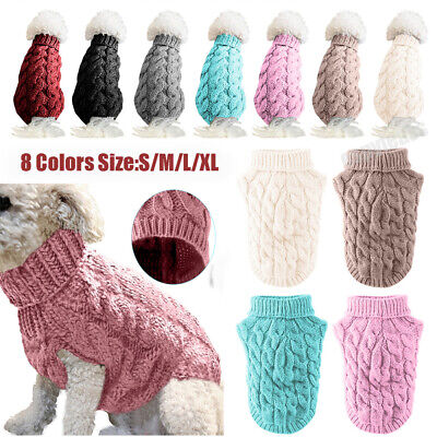 Small Pet Dog Clothes Coat Winter Warm Puppy Knitted Jumper Sweater S/M/L/XL NEW