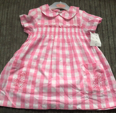Baby Girls Designer Pink Gingham Dress 6-12M By Cutie Couture Brand New With Tag