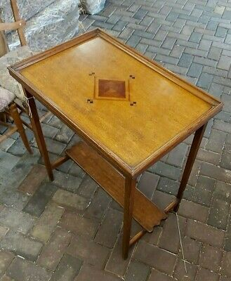 Antique Arts and Crafts Golden Oak Side Table Marquetry Top C 1910 stunning