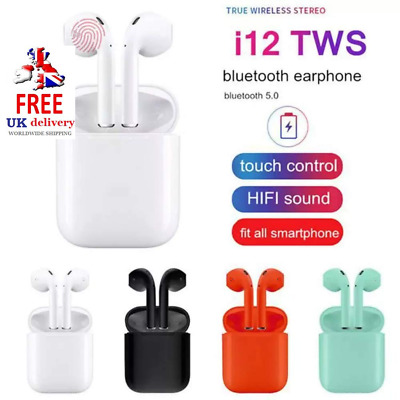 i12 TWS WIRELESS AIR-PODS BLUETOOTH 5.0 EARPHONES TOUCH CONTROL EARBUDS
