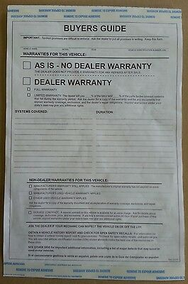 ~CAR DEALER LOT 200 BUYERS GUIDE ~ AS IS FORMS ..NEW as required by FTC Rule