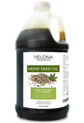 HEMP SEED OIL PURE RAW UNREFINED ORGANIC CARRIER VIRGIN COLD PRESSED 64 oz