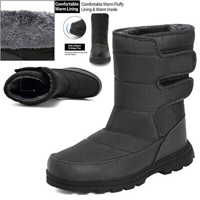 Mens Snow Boots Warm Shoes Fur Fleece Lined Thermal Winter Anti Slip Waterproof