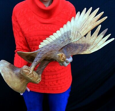 "Large 21"" Handmade Wood Carving Eagle! Eagle101"