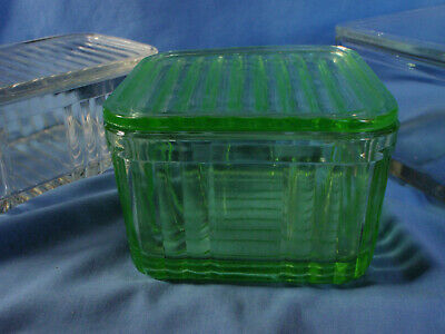 Vintage Depression Green Glass Bread Butter Cheese Dish with Lid
