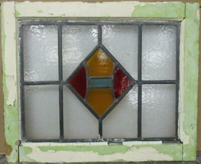 "OLD ENGLISH LEADED STAINED GLASS WINDOW Gorgeous Geometric Design 20"" x 16.5"""