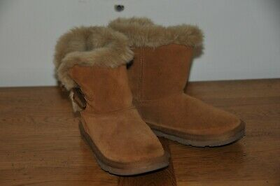 Girls Next Brown Furry Pull Up Boots Size Kids 12