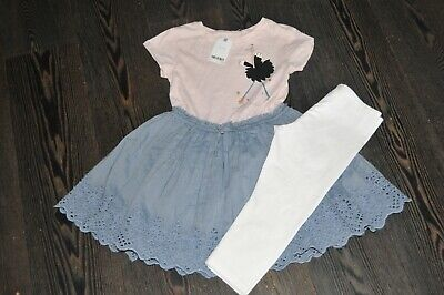 Girls Next Pink Chambray Dress White Leggings Outfit Size 8 Years Bnwt