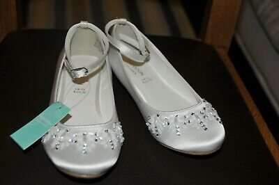 Girls Monsoon White Beaded Satin Ballerina Shoes Junior Size 13 Eur 32