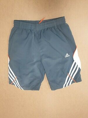 Ee570 Boys Adidas Climalite Grey White Drawstring Sport Shorts Age 11-12 Yrs
