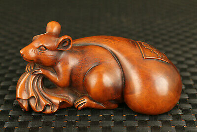 Oriental Vintage Bronze Signed statue brass copper fortune Lucky statue mouse