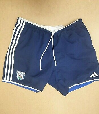 Ee665 Mens Adidas Blue White Stripe West Brom Albion Football Shorts Uk L W34