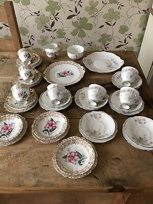 Job Lot Of Pretty Bone China Windsor Cups, Saucers, Plates Etc COLLECTION ONLY