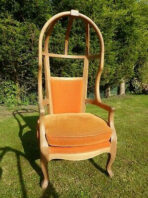 Antique Arts & Crafts Style Oak Canopy Porters Chair Impressive Throne Armchair