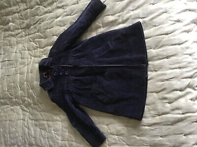 Lovely Mini Boden girls blue cord empire line coat age 3-4 warm easy fastening