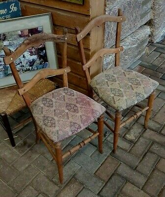 Antique Arts and Crafts Rustic Dining Chairs Pair C 1900 rare
