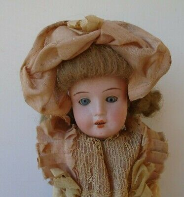 """Antique 11"""" Recknagel 1909 Bisque Head Jointed Compo Body Doll Orig Costume"""
