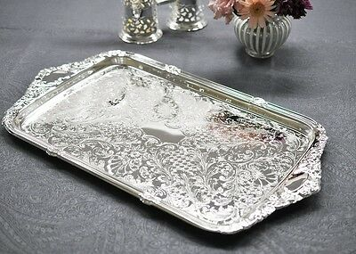 Vintage Silver Plated Rectangle Tray Integral Handle - Set of 3 - GIFT SALE