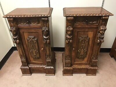Pair Of Carved Figural Walnut Cabinets