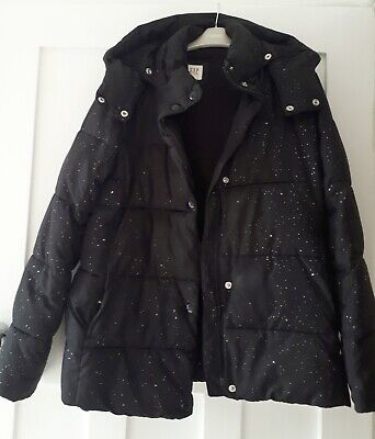 GAP Girls Very Warm Winter Hooded Coat, XXL (13 yrs) Black with Silver Speckle