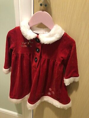 Mothercare Baby Girls Mrs Santa Christmas Dress With Tights - 9-12 Months