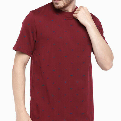 2XL adidas Originals ALLOVER PRINT TREFOIL TEE Burgundy {DJ3462}