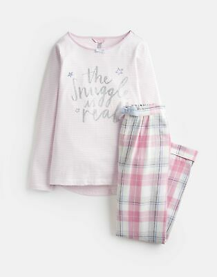 Joules Girls Neoma Jersey Woven Set 1 12 Years in PINK SNUGGLE
