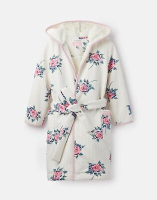 Joules Girls Idlewhile Fleece Lined Dressing Gown - CREAM STRIPE FLORAL