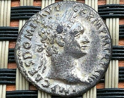 "Silver Coin Of Domitian 81-96 Ad Ar Denarius ""Minerva & Owl"" Ancient Roman Coin"
