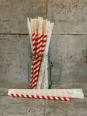 Paper Straws with wrappers Milkshake smoothie drinking straw 8mm UK 1 / 20 /140