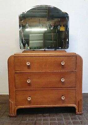 Art Deco  Chest Of Drawers With Mirror