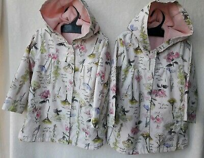2 X GEORGE ASDA Twins AGE 2-3 YEARS FLORAL LIGHTWEIGHT HOODED JACKET VGC FREEp&p