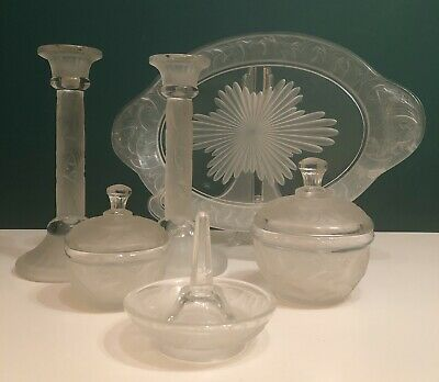AMAZING Art Deco Brockwitz Frosted 8 Piece Glass Dressing Table Set Candlesticks